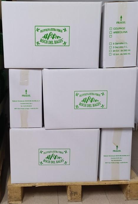 Compra familiar o col·lectiva. 21 garrafes de 5 litres d'oli d'oliva verge extra arbequí (7 caixes) collita 2019/2020