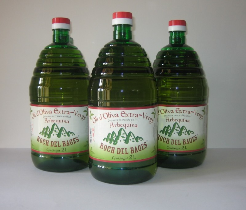 Caixa de 3 garrafes de 2 litres d'oli verge extra arbequí collita2019/2020