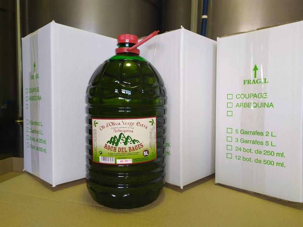 Compra familiar o col•lectiva. 9 garrafes de 5 litres d'oli d'oliva verge extra arbequina (3 caixes) collita 2019/2020