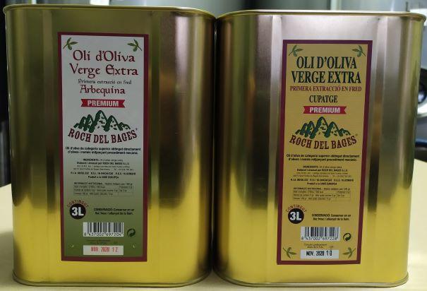 Caixa amb 1 llauna de 3 litres d'oli d'oliva verge extra arbequí i 1 llauna de 3 litres d'oli d'oliva verge extra cupatge collita 2020/2021
