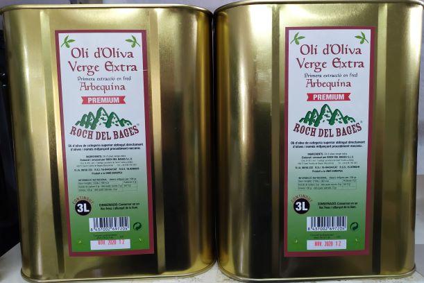 Caixa de 2 llaunes de 3 litres d'oli d'oliva verge extra arbequí collita 2019/2020