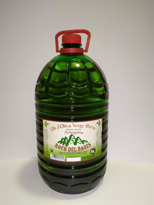 Compra familiar o col?lectiva. 9 garrafes de 5 litres d'oli d'oliva verge extra arbequina (3 caixes) collita 2020/2021