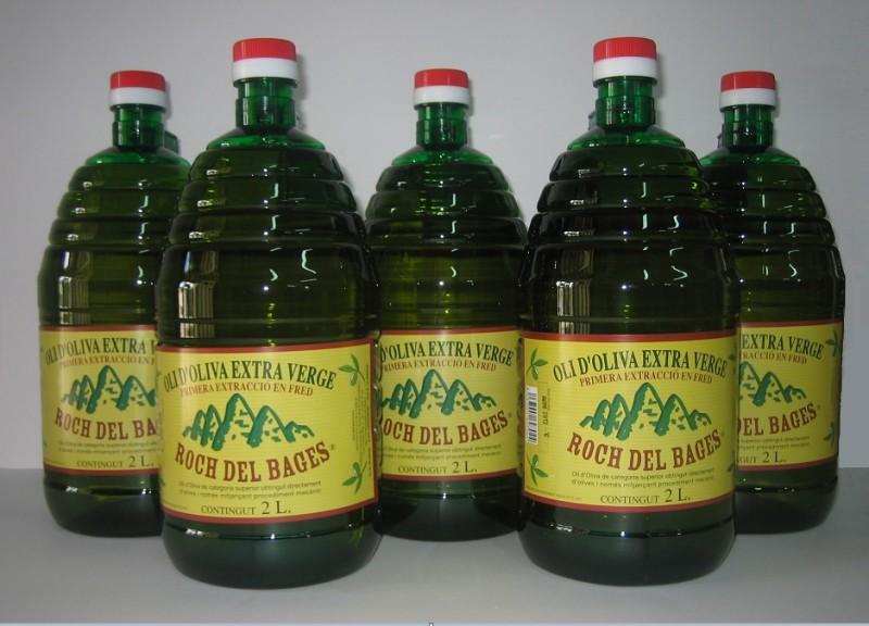 Caixa de 5 garrafes de 2 litres d'oli verge extra Copatge.