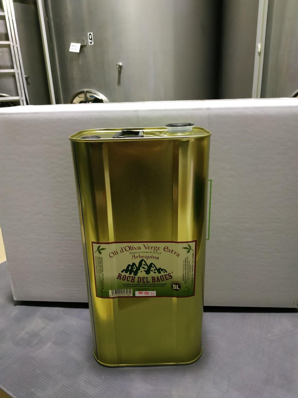 Caixa de 4 llaunes de 5 litres d'oli verge extra arbequí collita 2019/2020