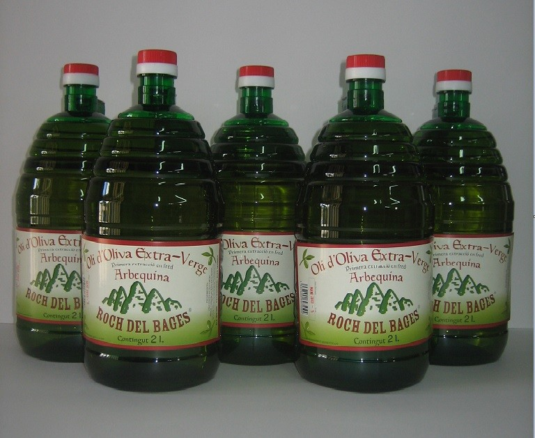 Caixa de 5 Garrafes de 2 litres d'oli verge extra arbequí
