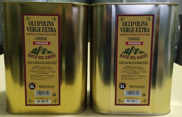 Caixa de 2 llaunes de 3 litres d'oli d'oliva verge extra cupatge collita 2020/2021