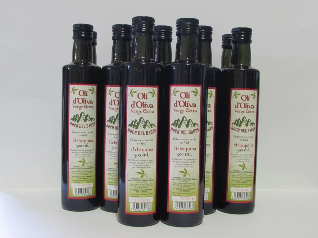 Caixa de 12 ampolles verge extra arbequí de 1/2 litre. amb tap  irrellenable