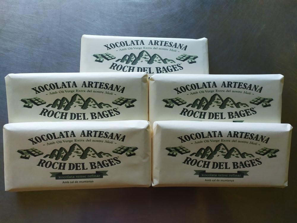 Caixa de 5 taules de xocolata de 125 grams artesana Roch del Bages sense refinar amb sal