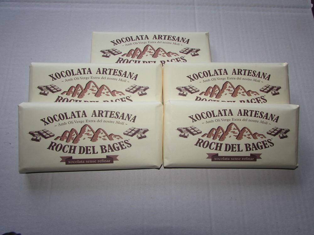 Caixa de 5 taules de xocolata de 125 grams artesana Roch del Bages sense refinar