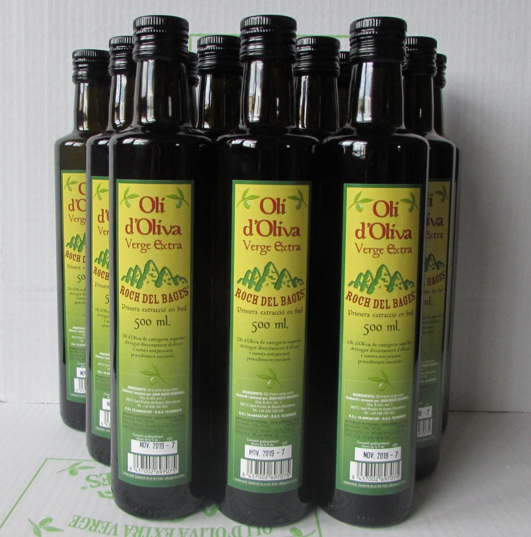 Caixa de 12 ampolles verge extra copatge de 1/2 litre amb tap irrellenable collita 2019/2020