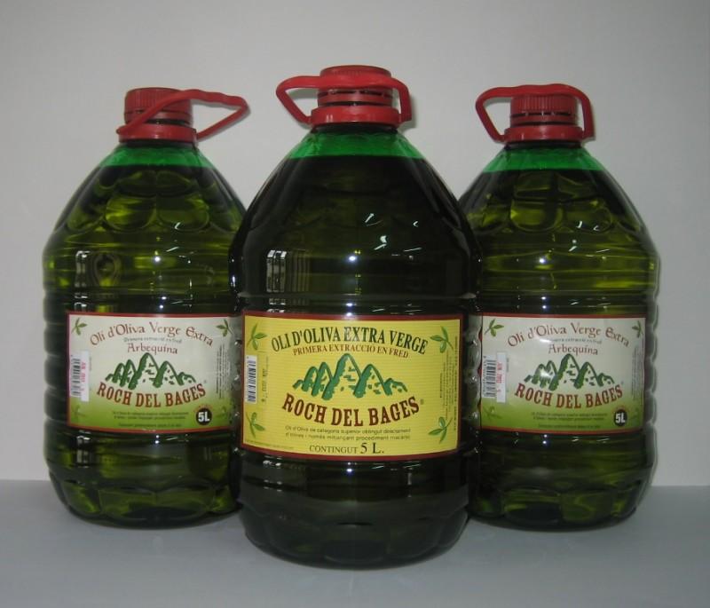 Caixa de 3 garrafes de 5 litres, 2 d'arbequina i una de copatge collita 2019/2020