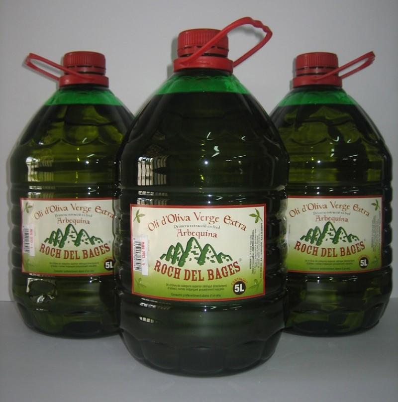 Caixa de 3 Garrafes de 5 litres d'oli verge extra arbequí
